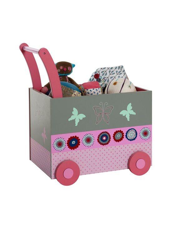 coffre à jouets bébé avec roulettes thème flor ailes gris moyen