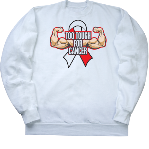 """Oral Cancer Slogan """"Too Tough For Cancer"""" shirts spotlighting powerful arms and an an awareness ribbon for advocacy by awarenessribboncolors.Com #cancerawareness #tootoughforcancer #cancershirts"""