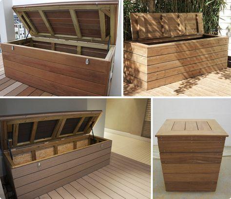coffre - terrasse bois - rangement - vérins idée pour meuble à