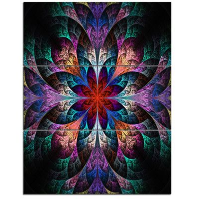 DesignArt Multi-Color Fractal Flower Pattern - 3 Piece Graphic Art on Wrapped Canvas Set