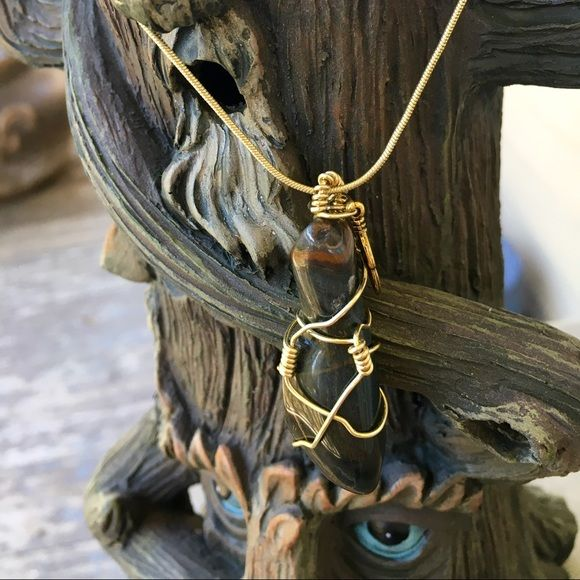 Golden Tiger's Eye Handmade Necklace! Larger Golden Tiger's Eye Handmade Necklace w/feather charm on gold chain! Jewelry Necklaces