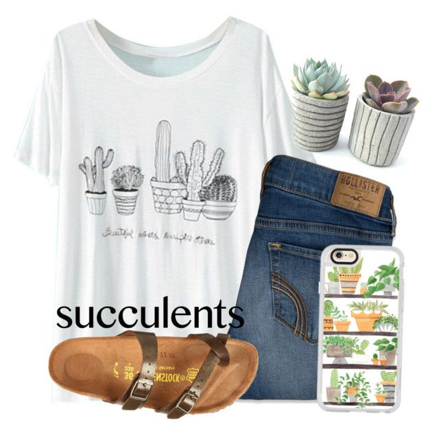 """""""Really want some succulents """" by kari-luvs-u-2 ❤ liked on Polyvore featuring WithChic, Hollister Co., Casetify and Birkenstock"""