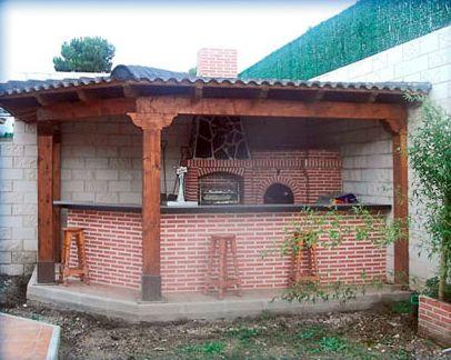 Segunda vista de cocina exterior en esquina barbacoas for Barbacoas exteriores de obra