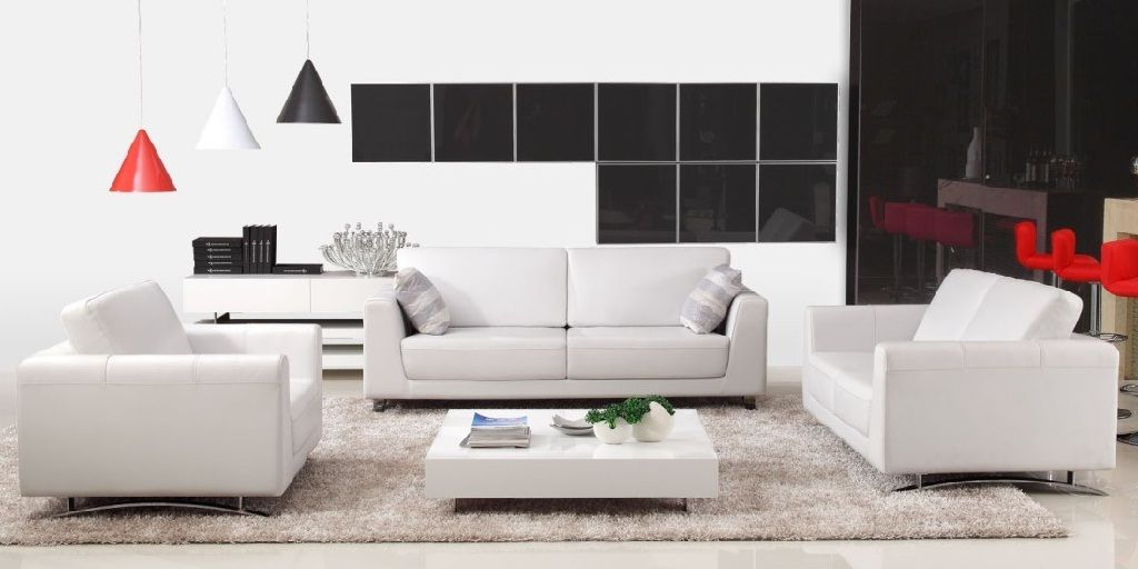 Ordinaire Off White Leather Sofa Set