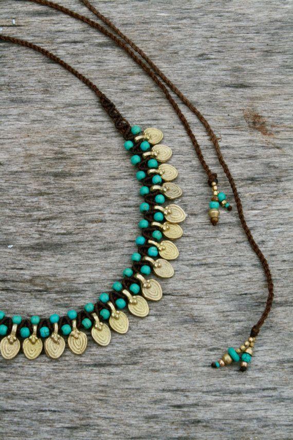 c2e39c948e91 collares tribales collar de macrame turquesa y por yasminsjewelry