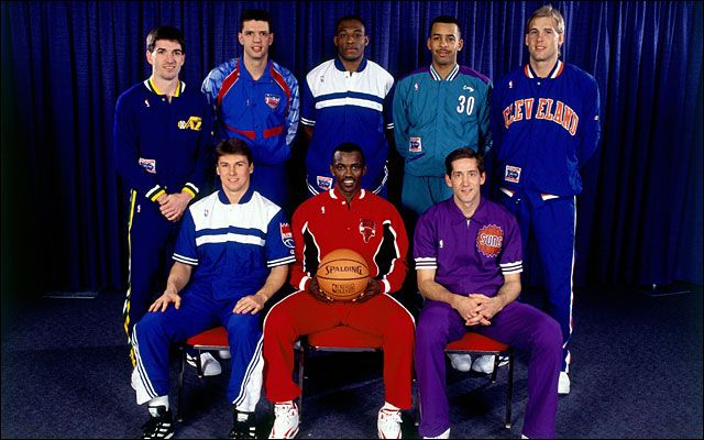Chicago Bulls - Top Row, Left : John Stockton, Drazen Petrovic, Mitch Richmond, Dell Curry and Craig Ehlo. Bottom Row, Left : Jim Les, Craig Hodges and Jeff Hornacek. 1992 All-Star 3-Point Shootout line-up. Craig Hodges collects his 3rd straight Three-Point Shootout Championship.Congrats!!!