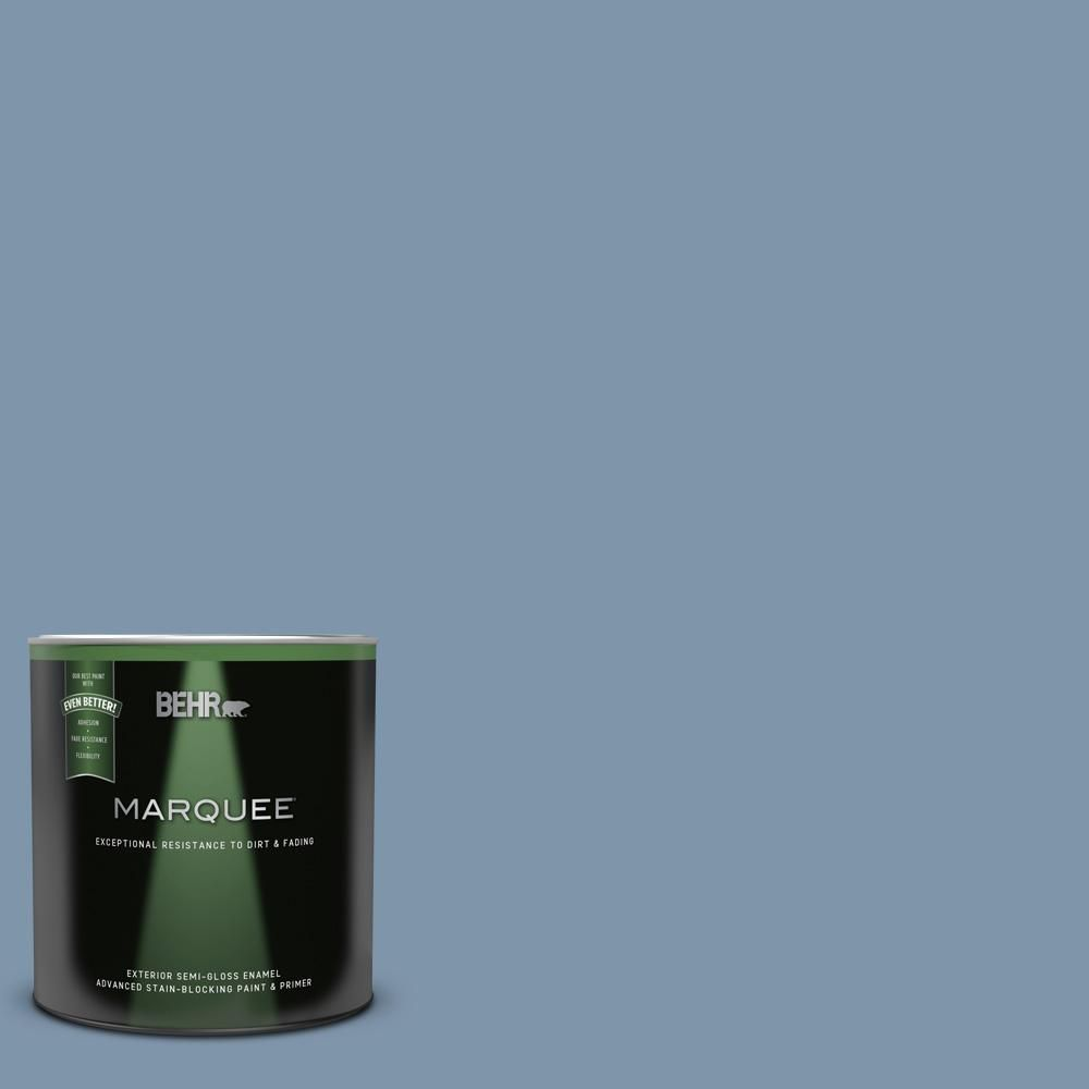 Behr Marquee 1 Qt 560f 5 Bleached Denim Semi Gloss Enamel Exterior Paint And Primer In One 545404 In 2020 Behr Marquee Behr Marquee Paint Interior Paint