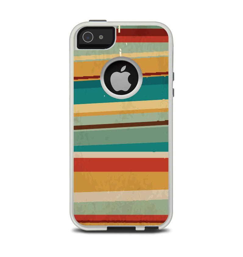 The Vintage Orange Slanted Stripes Apple iPhone 5-5s Otterbox Commuter Case Skin Set