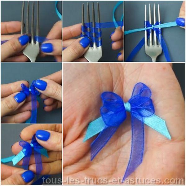 Truc noeud fouchette loisirs cr atifs pinterest - Comment faire un noeud papillon avec un ruban ...