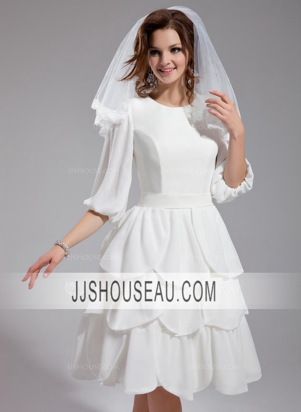 sleeves alineprincess sleeves ruffle kneelength wedding dress
