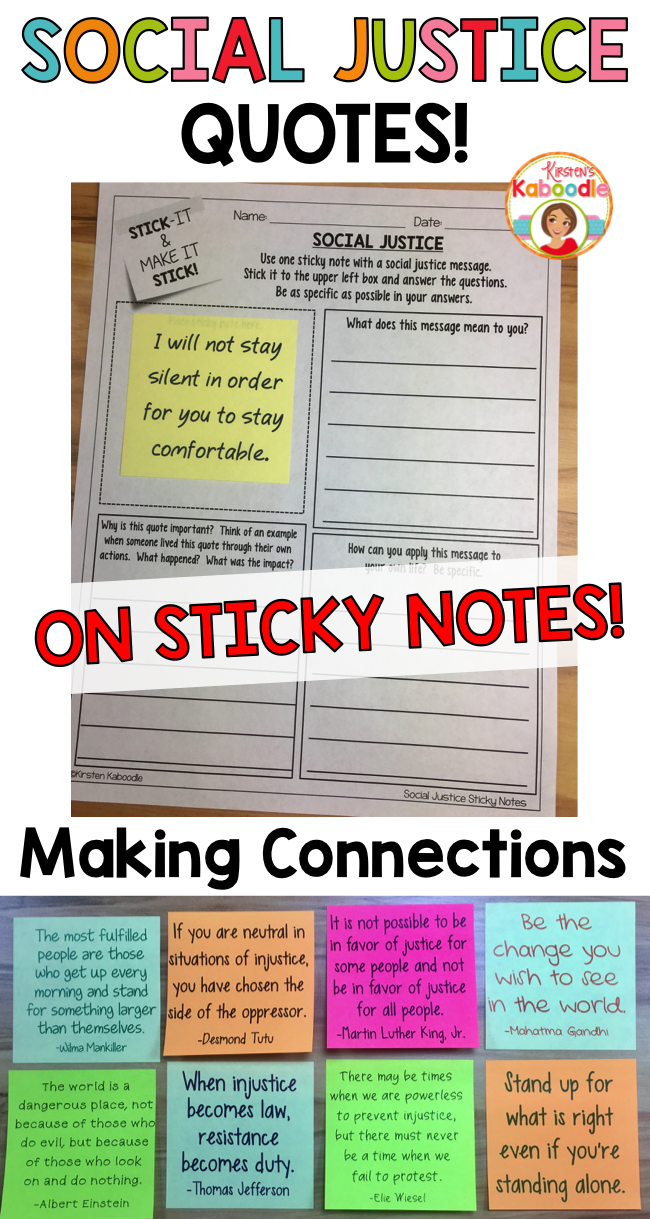 Social Justice Quotes On Sticky Notes Social Justice Activity Digital Social Justice Quotes Social Justice Education Justice Quotes