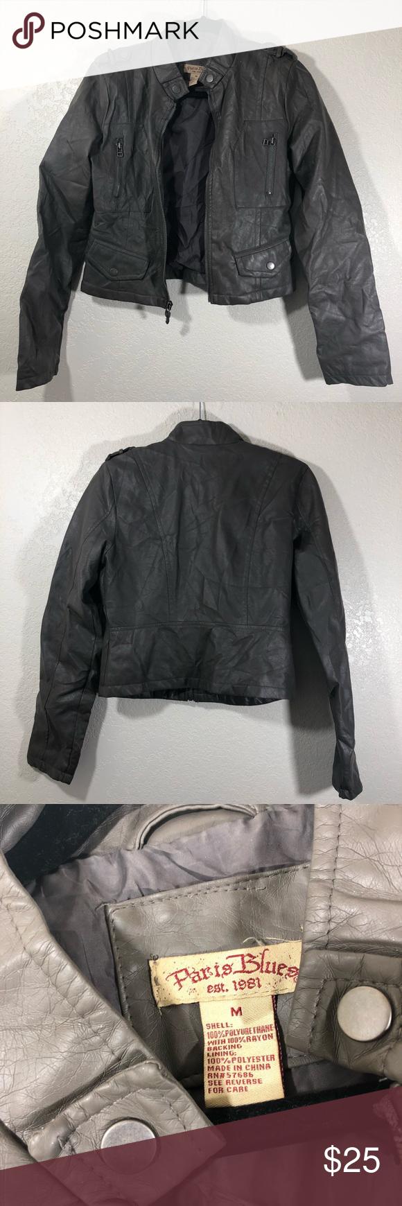 Paris Blues Faux Grey Leather Motto Jacket Jackets Paris Blues Grey Leather [ 1740 x 580 Pixel ]
