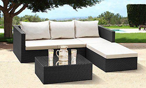 270 Comfy Living 4 Seater Rattan Corner Garden Set In Black C Https Www Indoor Wicker Furniture Outdoor Patio Furniture Outdoor Furniture Sets