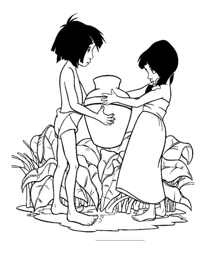 jungle book shanti and mowgli coloring pages