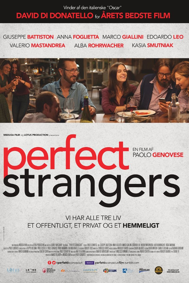 完美謊情 Perfect Strangers 97min / 2016  #aoloGenovese     #GiuseppeBattiston    #AnnaFoglietta    #MarcoGiallini      #Comedy      #Italy    #Movie    #Poster