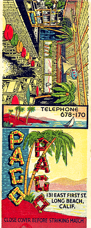 Vintage matchbook cover for the Paco Paco Lounge, Long Beach, California