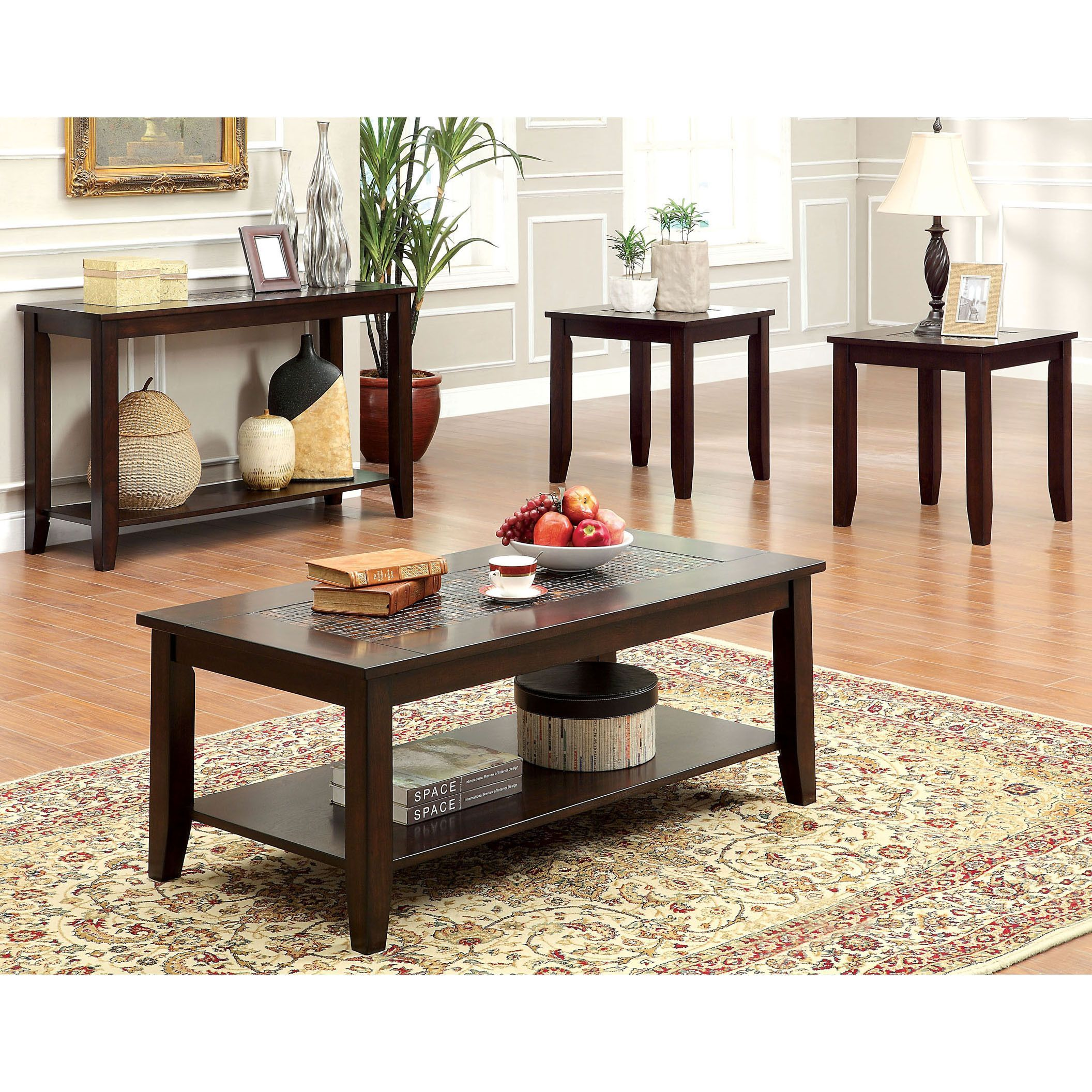 Cherry Wood Mosaic Tile Insert 4 Piece Coffee Table, Sofa Table And End  Tables