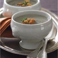 Creamy Mushroom Soup with Parmesan and Herb Croutons by Jennifer