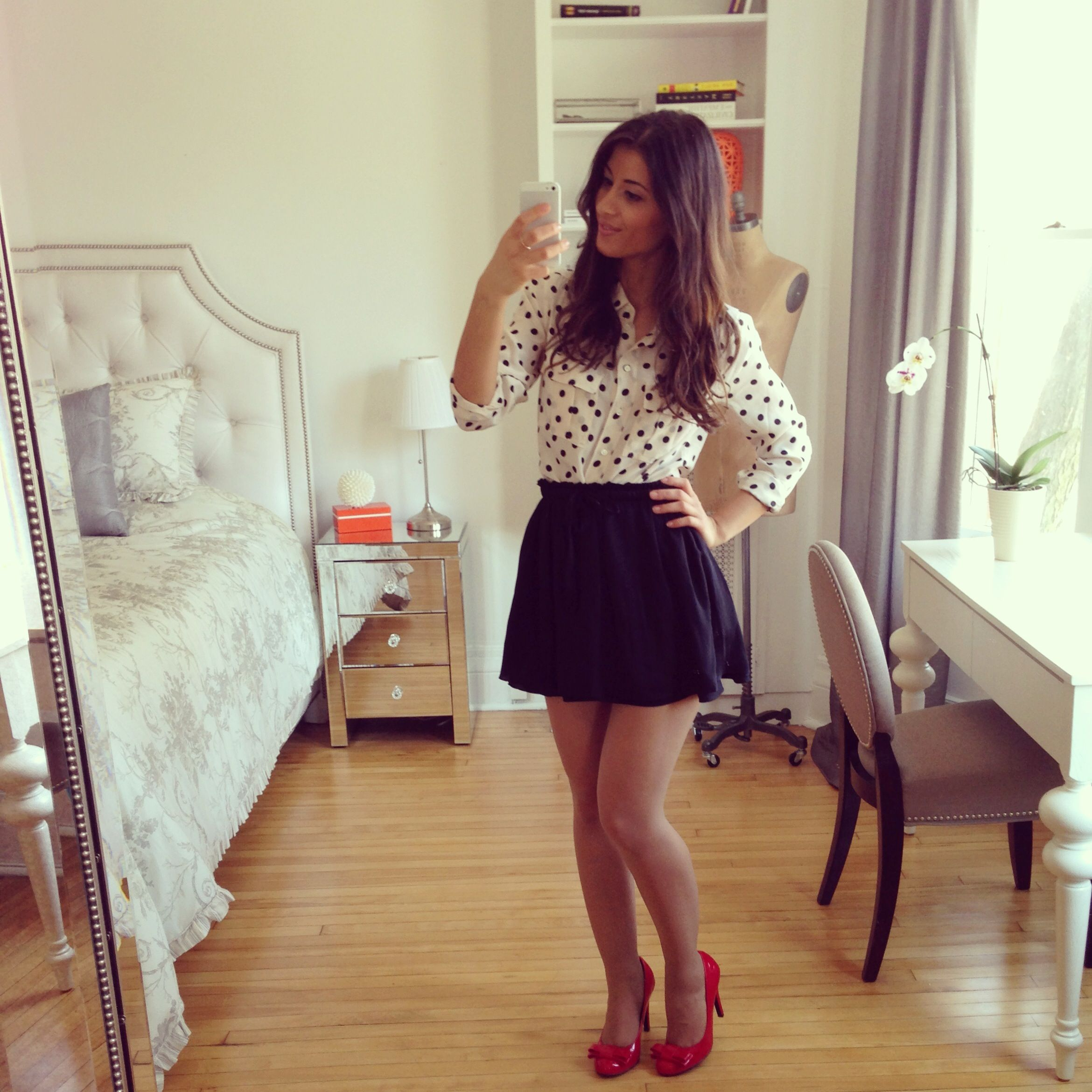 outfit red heels black skirt and polka dot shirt  41e78efb922