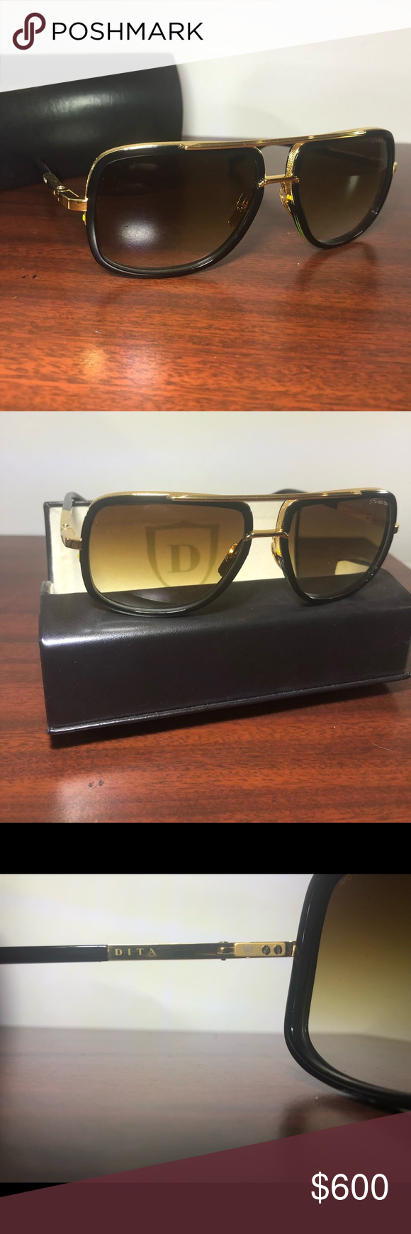 f453da938a56 Dita MACH-ONE Black Shiny 18k Sunglasses Dita MACH-ONE Black Shiny 18k Gold brown  Shaded (B-BLK-GLD A) Never Used Accessories Sunglasses