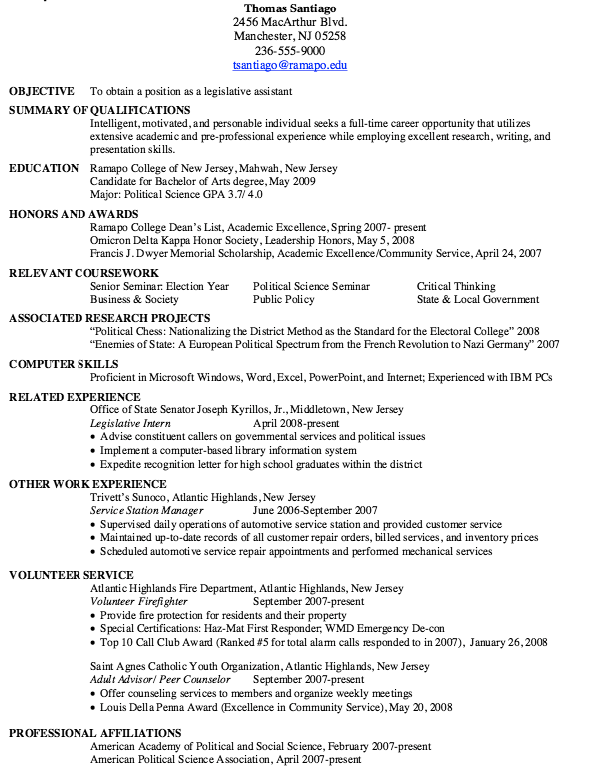 Resume Legislative Assistant  HttpResumesdesignComResume