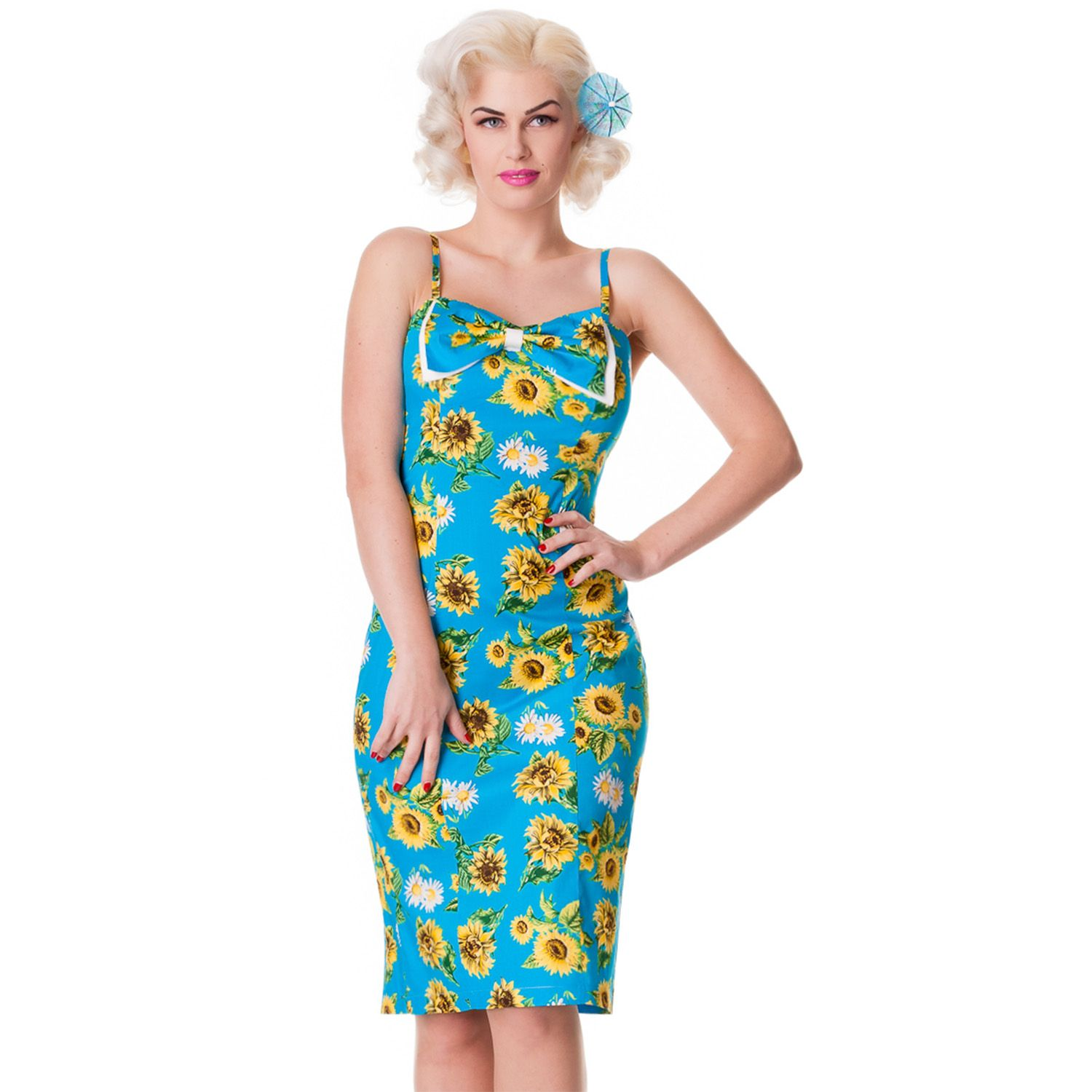 Hell Bunny Magali 50s Blue Rockabilly Vintage Floral Sunflower Sun Pencil Dress | eBay