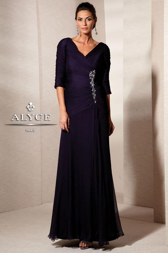 Jean De Lys 29591 V neck and back, 3/4 sleeves and a line skirt. Mothers and special occasion #timelesstreasure