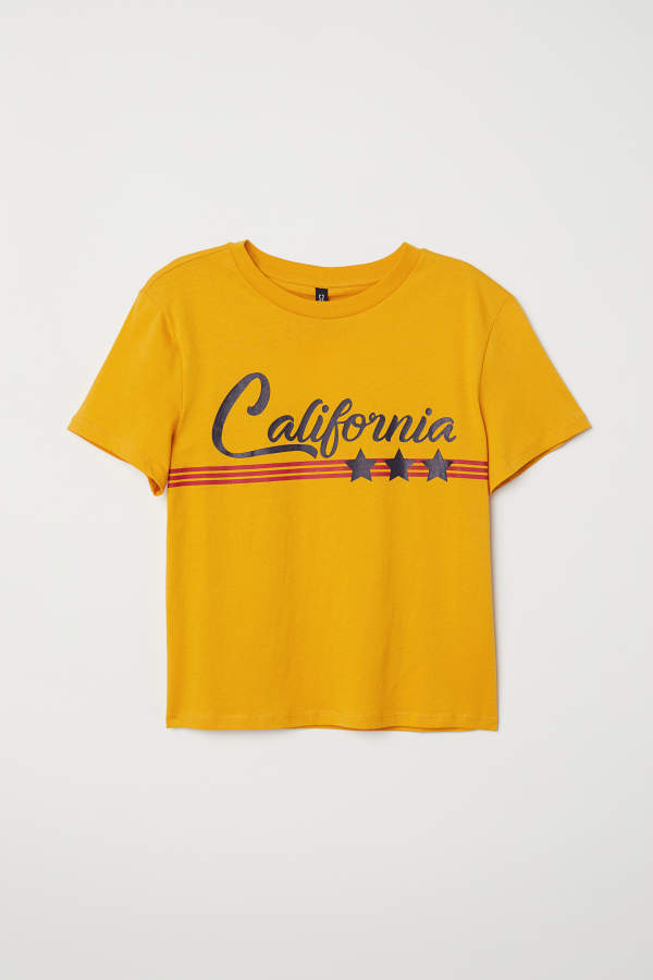 H M H M T Shirt With Printed Motif Dark Yellow California Women California Shirt T Shirt T Shirt And Shorts