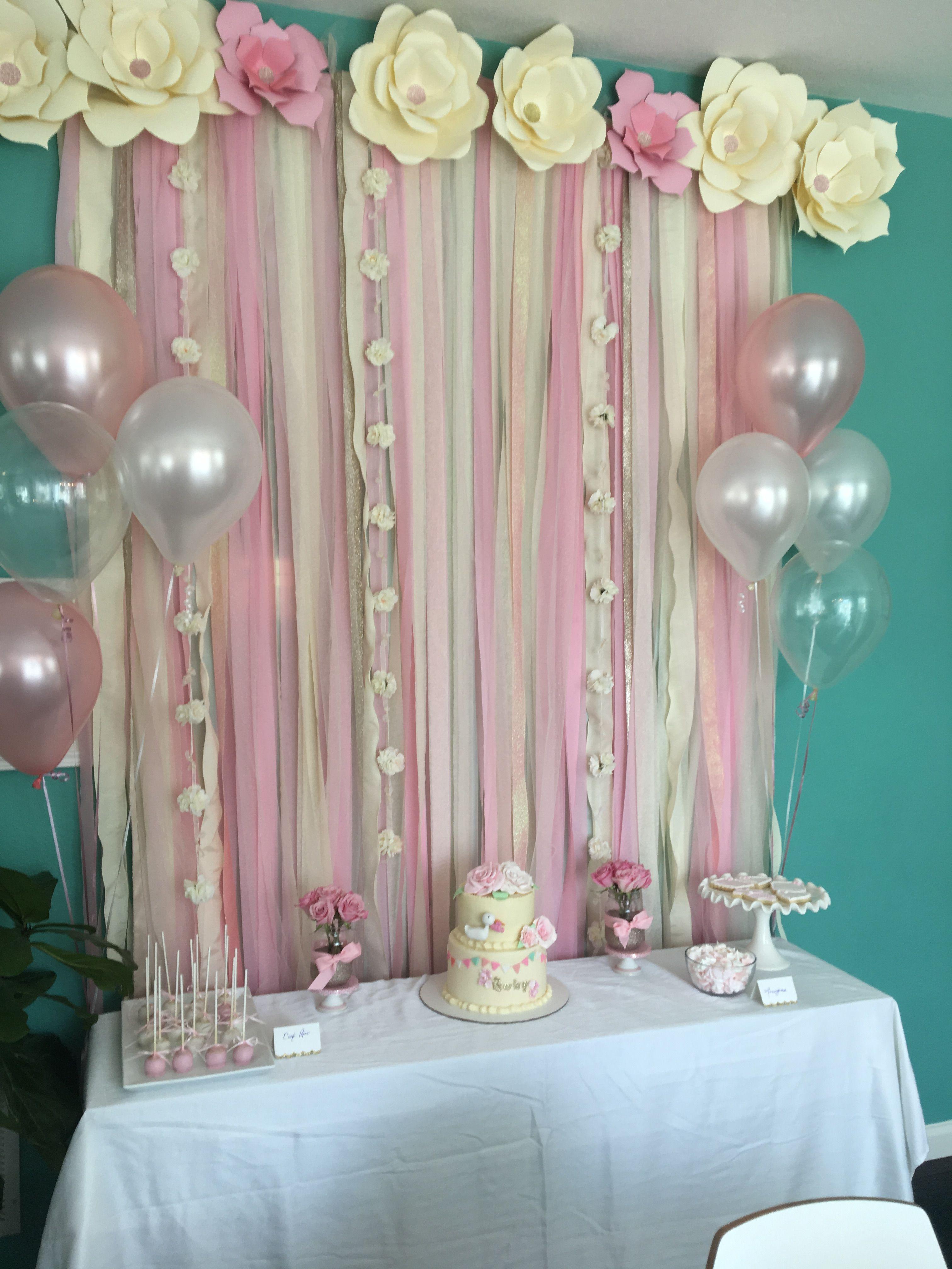 Beautiful Backdrop Baby Shower Baby Girl Birthday Theme Baby Girl Shower Themes Baptism Decorations Girl