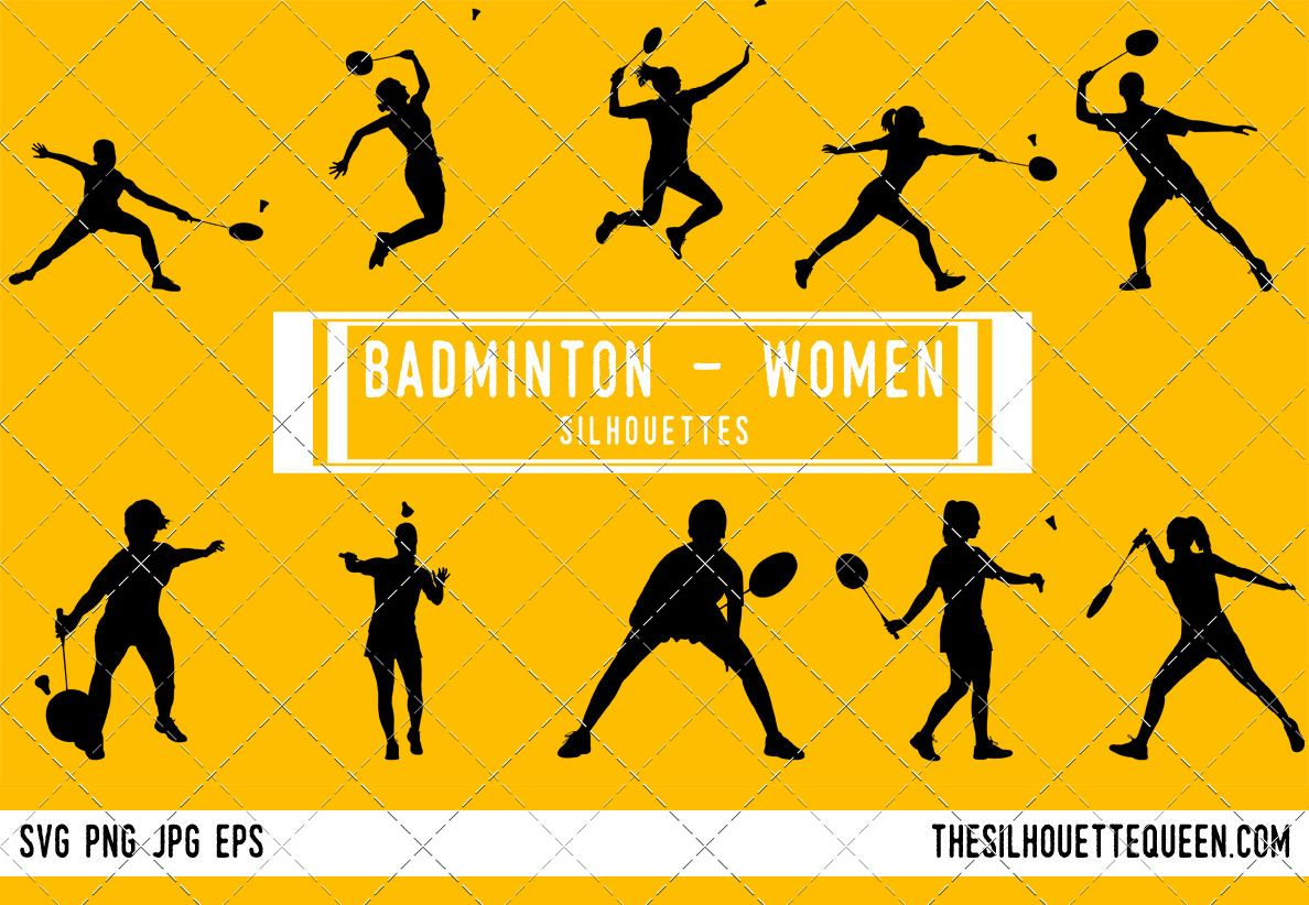 Female Badminton Player Silhouette Vector By The Silhouette Queen Thehungryjpeg Com Player Sponsored B Silhouette Silhouette Vector Volleyball Silhouette
