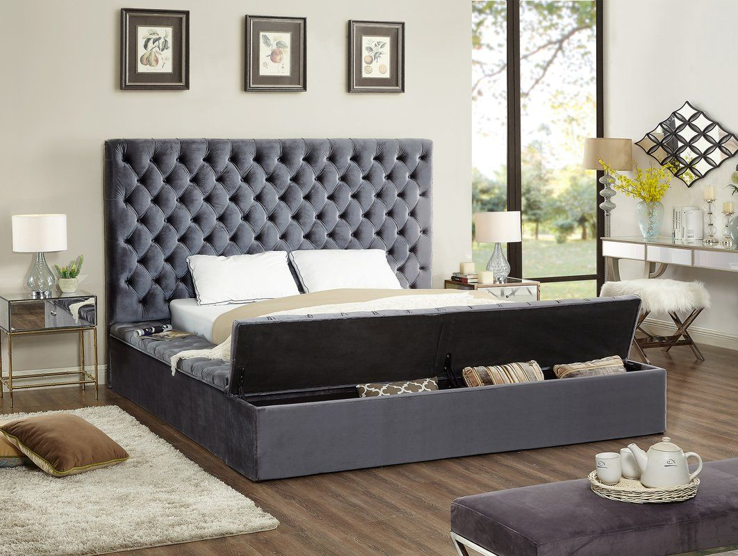 Tami Upholstered Storage Platform Bed King storage bed