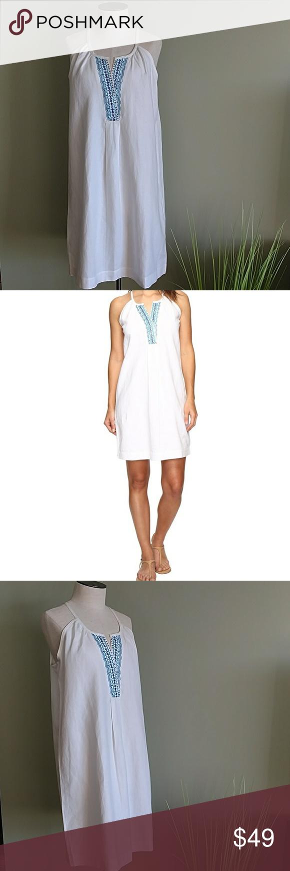 1f0ab744e5e Tommy Bahama Embellished Linen Shift Dress FaBuLoUs embroidery along the  collar! Shift style