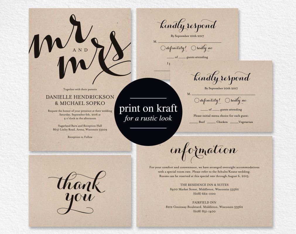Wedding invitation printable template wedding invitation editable