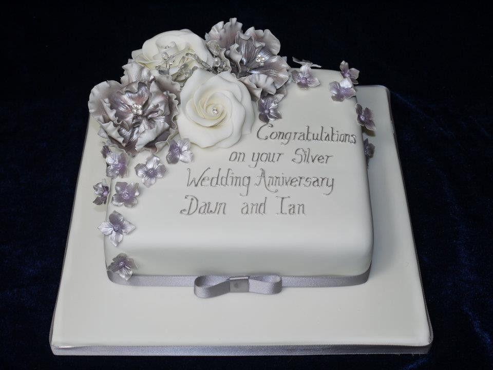 Silver Anniversary Cake 2 In 2019 25th Wedding Anniversary