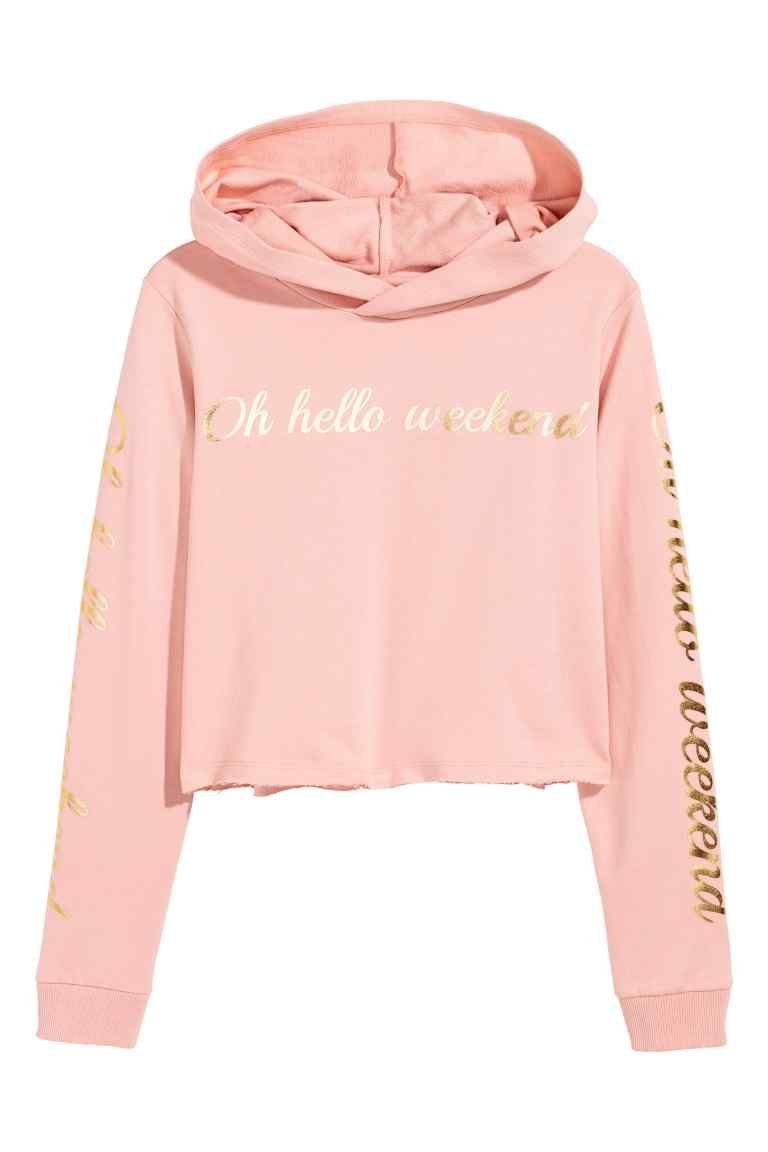 c1d0a34a28f64 Cropped hooded top - Powder pink - Kids