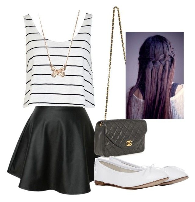 """""""?"""" by abigailpaynemalik ❤ liked on Polyvore featuring Chanel, River Island, Repetto and FOSSIL"""