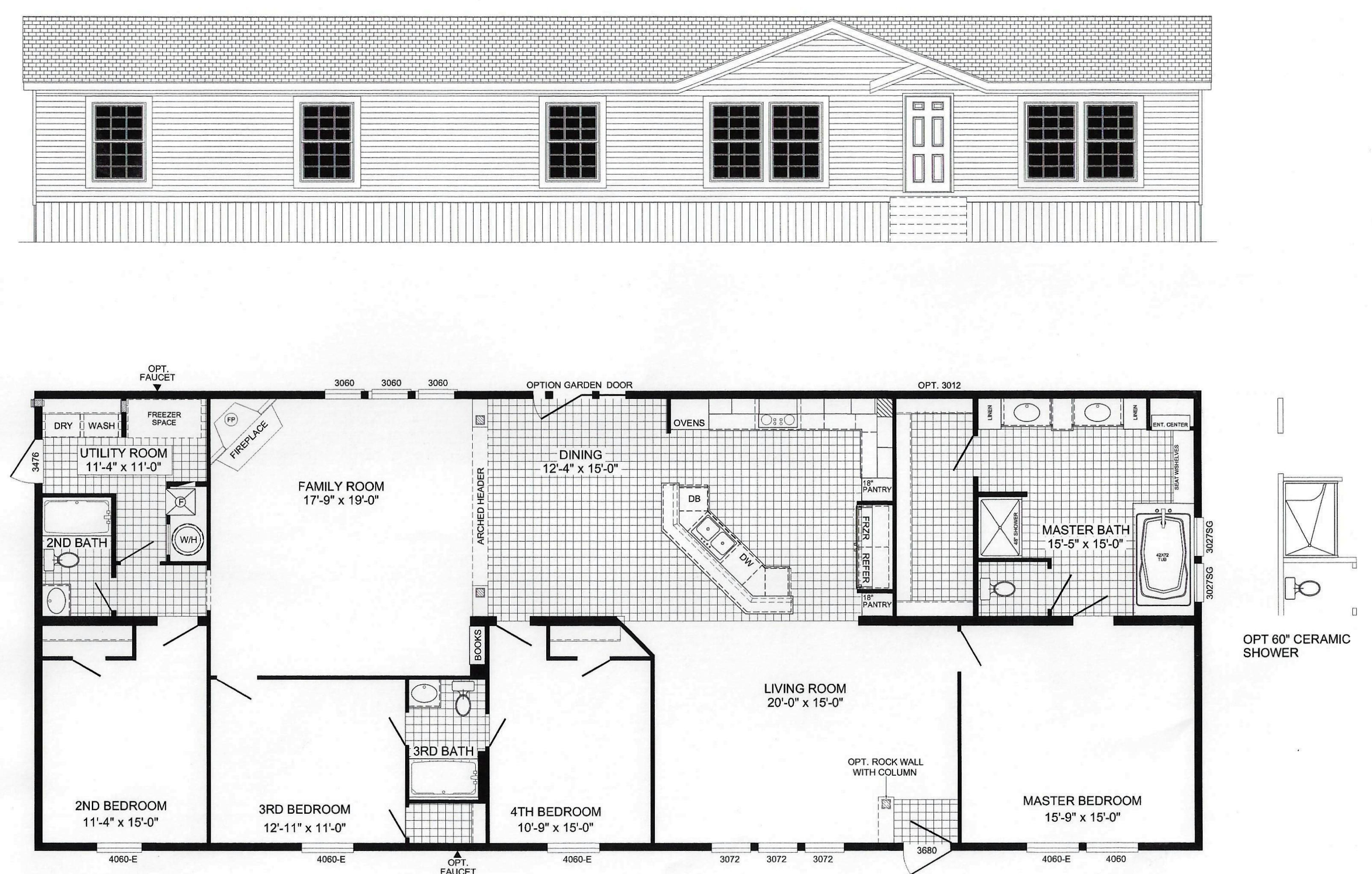 4 Bedroom Floor Plan B 6010 Floor Plans Bedroom Floor Plans Modular Home Floor Plans