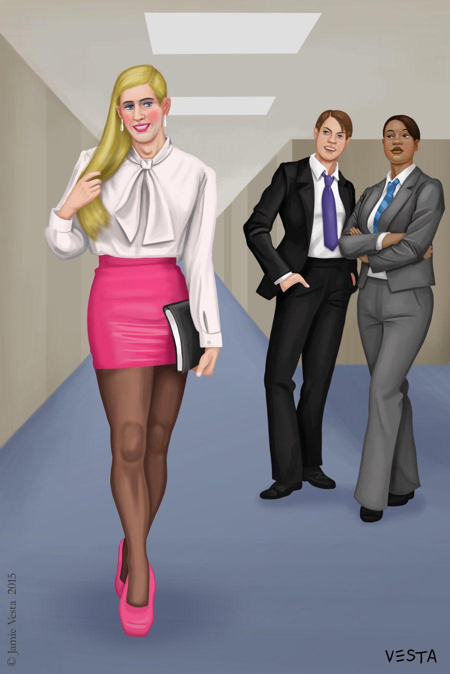 cartoon over Secretary bending