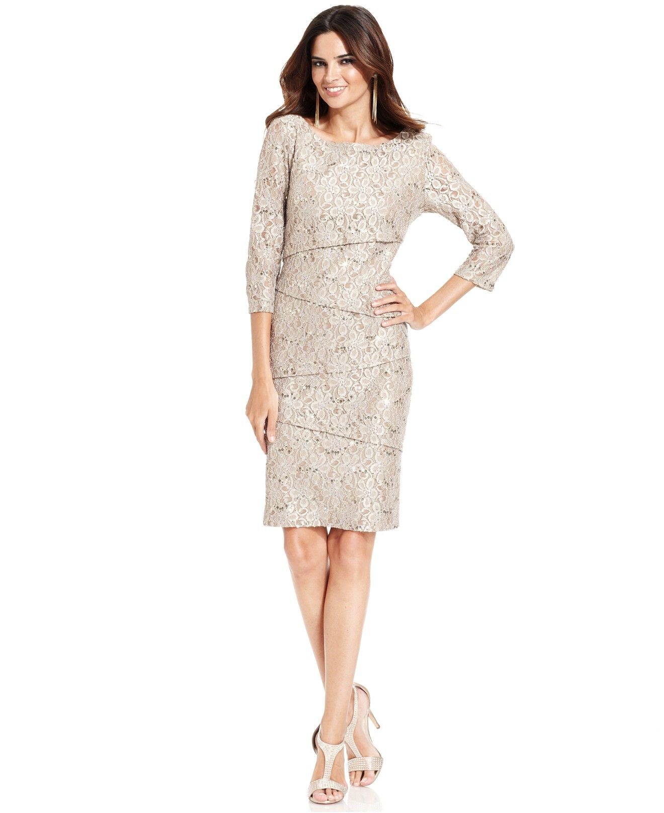 Ronni Nicole Tiered Sequin Lace Dress Dresses Women