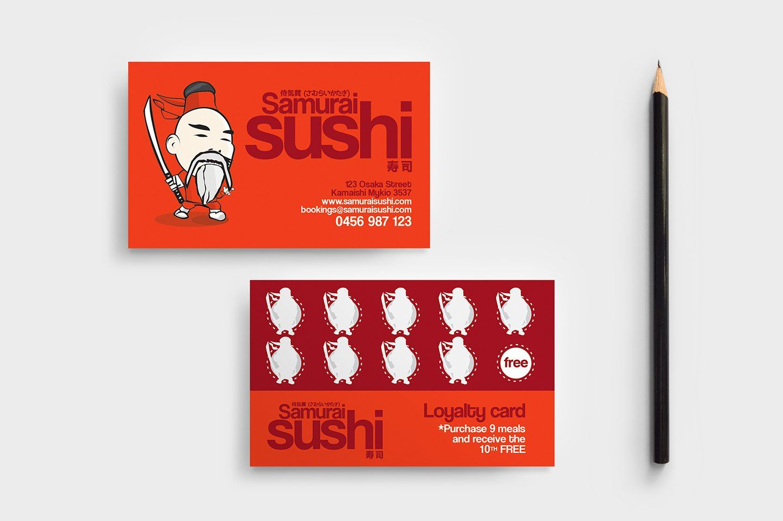 Sushi Restaurant Loyalty Card Loyalty Card Design Loyalty Card Restaurant Business Cards