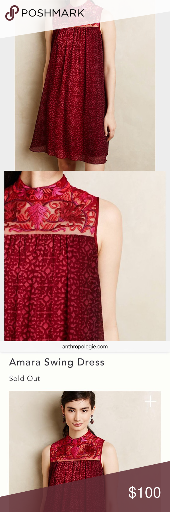 7ab9e07f095b3 NWT Amara swing dress NWT Anthropologies Amara Swing dress! Sold out  everywhere online! Size 6 never worn! So gorgeous and perfect for any  occasion!