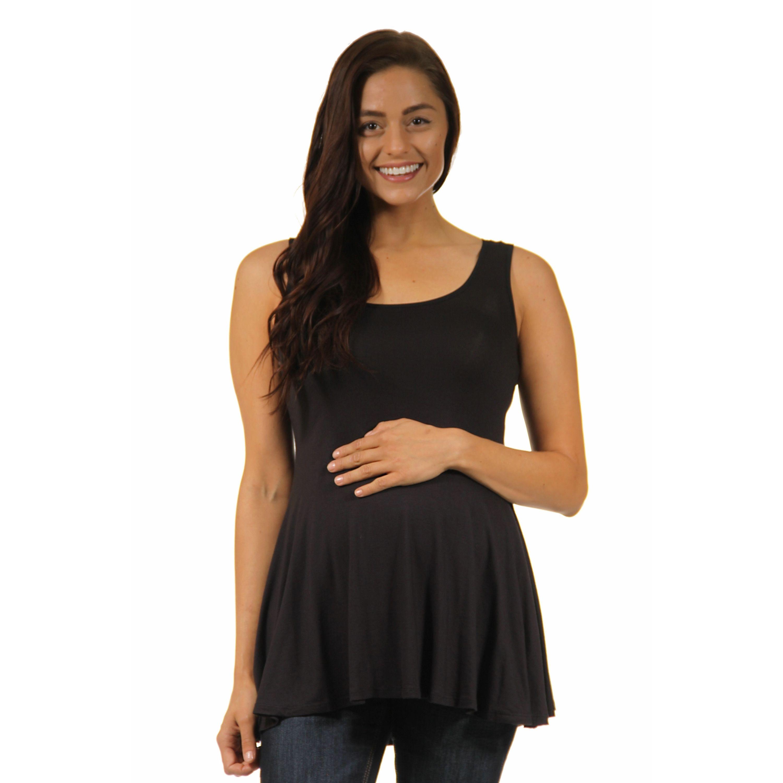 e748f857de 24/7 Comfort Apparel Women's Maternity Sleeveless Tunic Tank (L), Pink, 24-7  Comfort Apparel (solid)