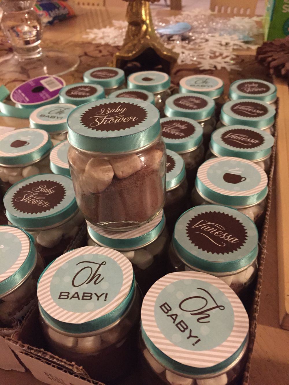 Baby Shower Favors Hot Chocolate baby shower favors. gerber bottles filled with hot chocolate mix and
