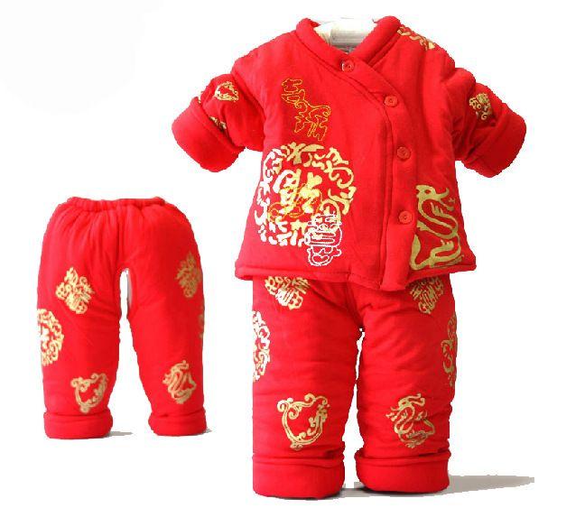 f35e8ed93 Autumn & Winter Newborn Baby Clothing Set Chinese New Year Cotton Three  piece Baby Suit