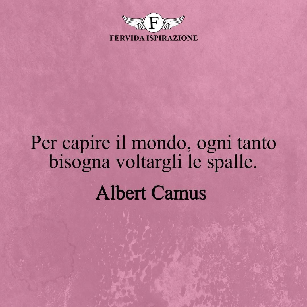 Per capire il mondo, ogni tanto bisogna voltargli le spalle._Albert Camus #frasibelle #frasivere #frasi #frasibrevi #vita #valori #frasifamose #aforismi #citazioni #motivazione #FervidaIspirazione