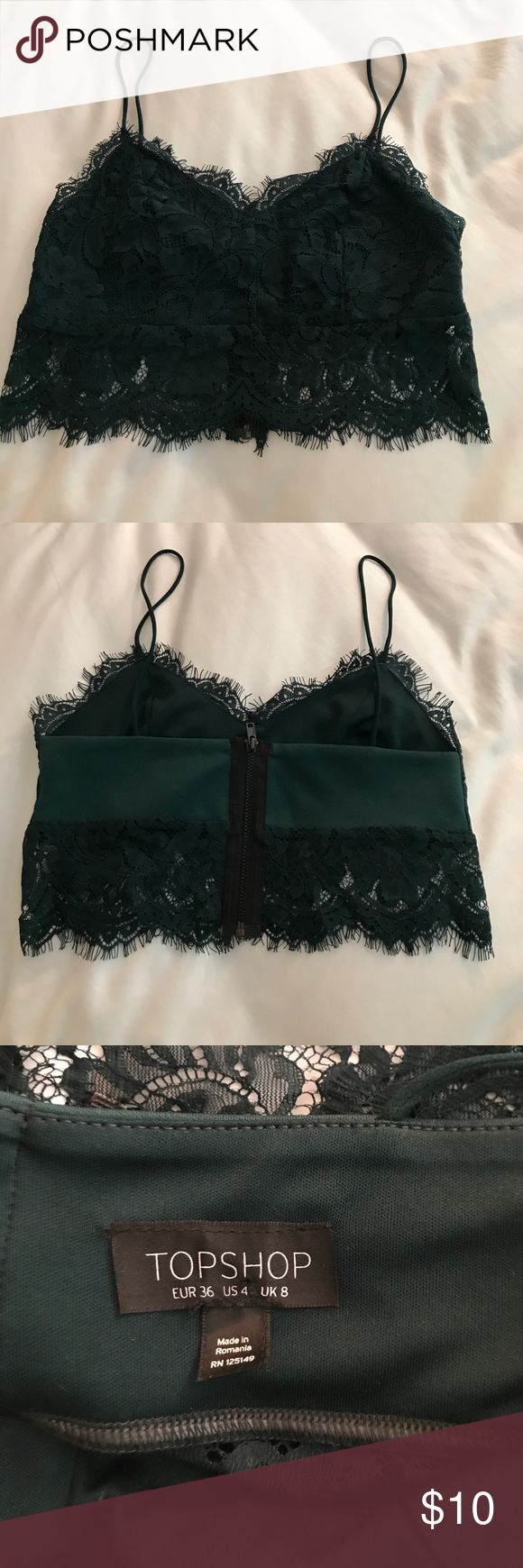 d272c79301ccd7 Topshop Forest Green Lace Bralette Forest green bralette featuring a lace  design with a rear exposed zipper. Topshop Tops Camisoles