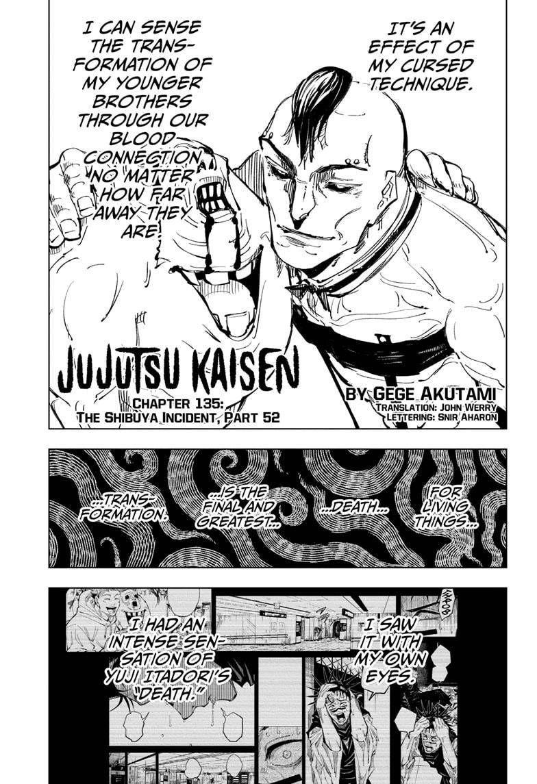 Jujutsu Kaisen Chapter 135 In 2021 Jujutsu Shibuya Manga To Read