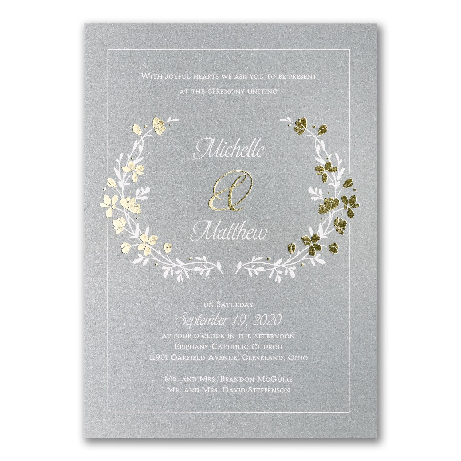 Timeless Garden Double Thick Wedding Invitations With Gold Foil