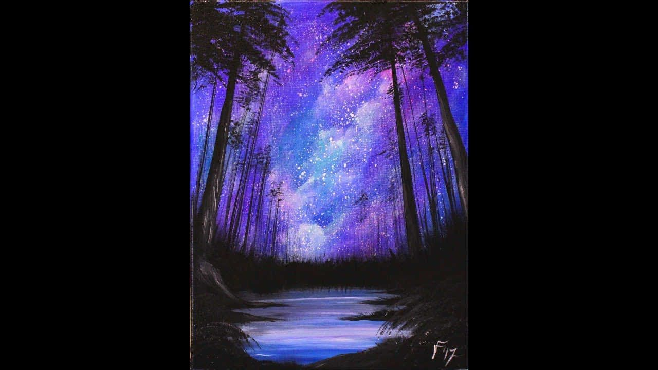 Starry Night In The Forest Step By Step Acrylic Painting On Canvas For B Acrylic Painting Canvas Black Canvas Paintings Canvas Painting Tutorials