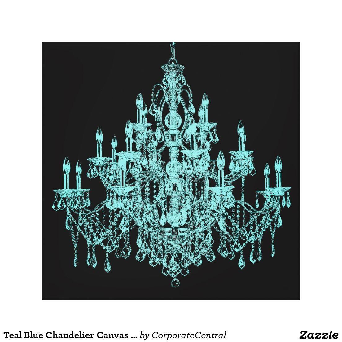 Teal Blue Chandelier Canvas Wall Art Print | Blue chandelier, Teal ...
